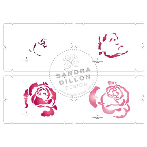 Rose Multi-Colour Stencil Layers