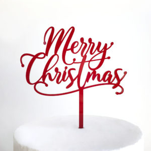 Merry Christmas Drop Script Cake Topper in Deep Red
