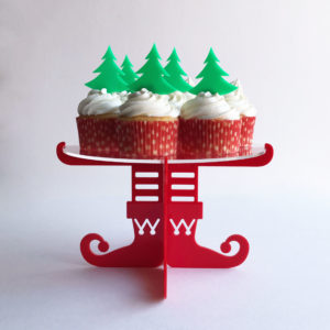 Elf Cupcake Stand in Red with Christmas Tree Cupcake Topper Set in Green