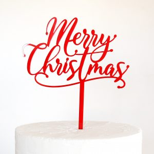 Merry Christmas Drop Script Cake Topper in Red
