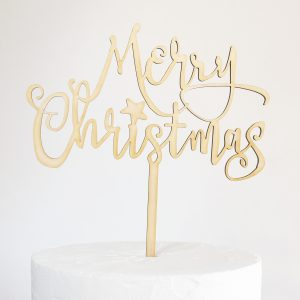 Rustic Merry Christmas Cake Topper