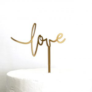 Small Love Cake Topper in Gold Mirror