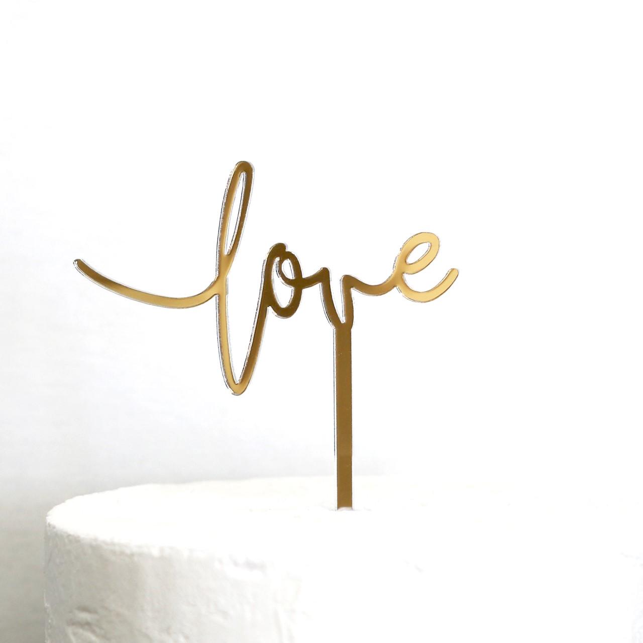 Small Love Cake Topper in Gold Mirror
