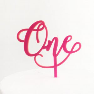 Small Wonderful One Cake Topper in Neon Pink