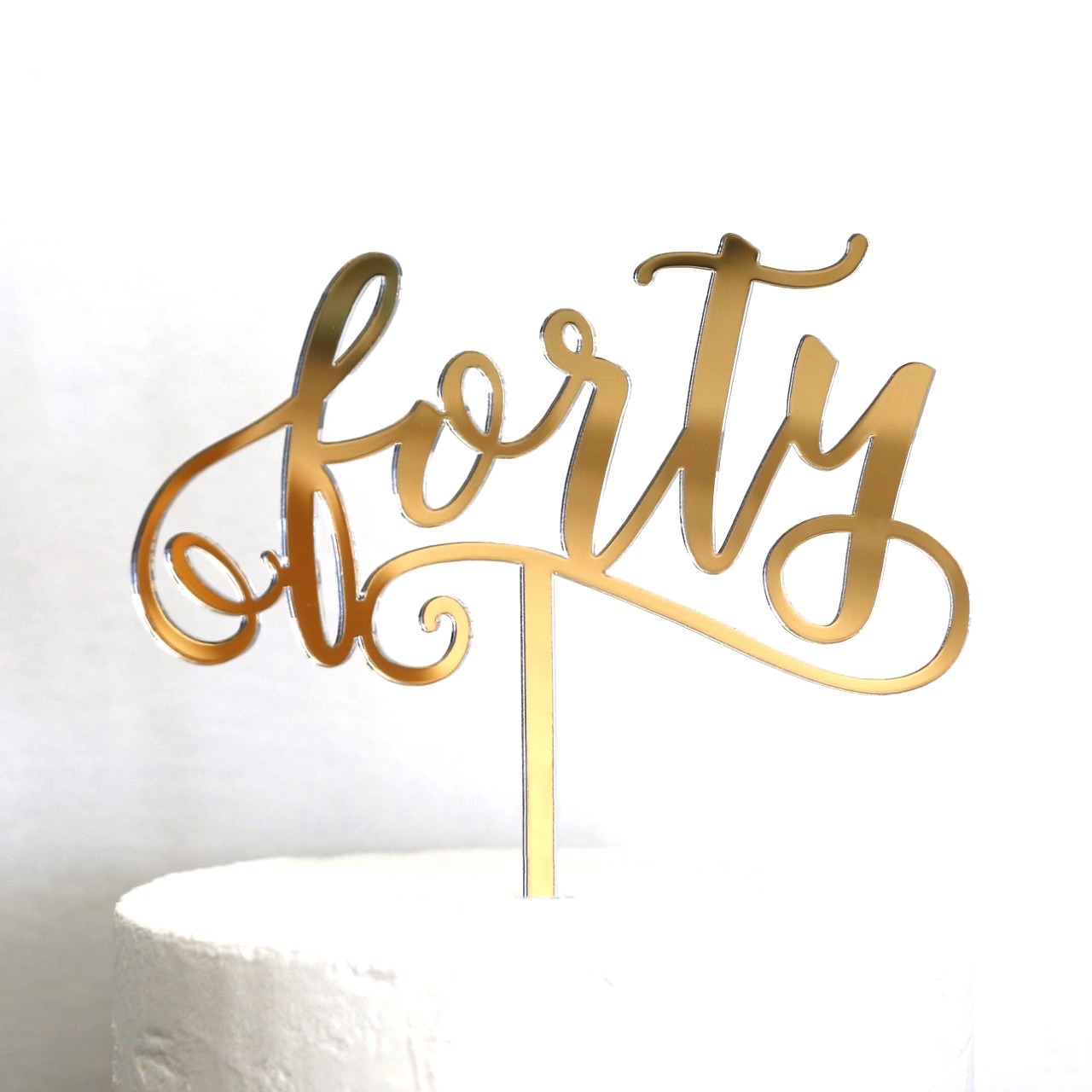 Rose Gold Forty Cake Topper