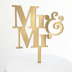 Simple Mr and Mr Cake Topper Gold Mirror