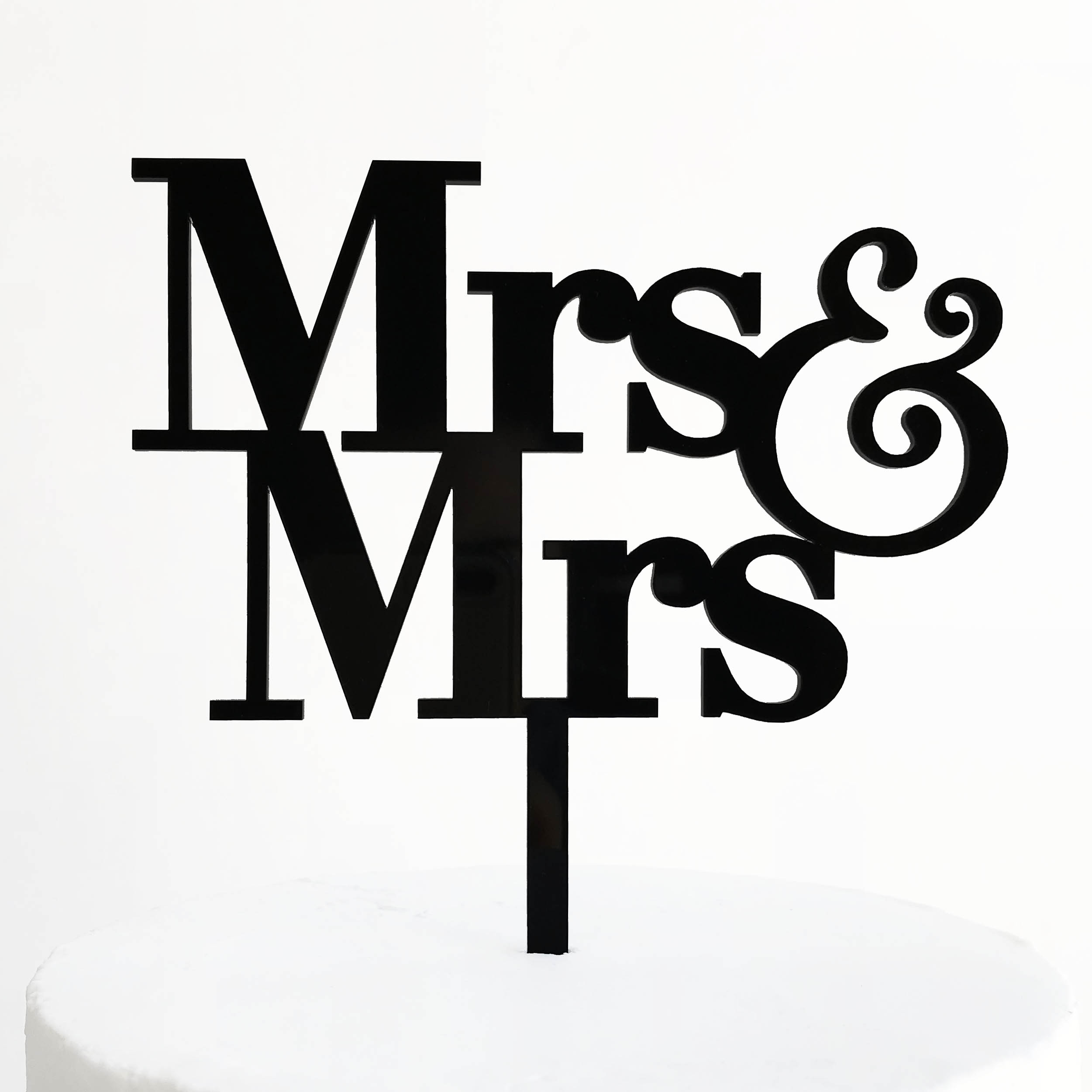 Simple Mrs and Mrs Cake Topper in Black