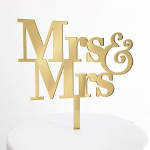 Simple Mrs and Mrs Cake Topper in Gold Mirror