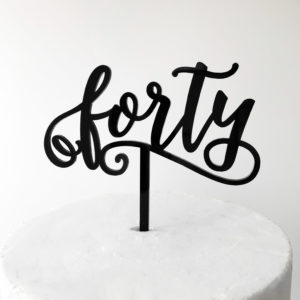 Small Fun Forty Cake Topper in Black