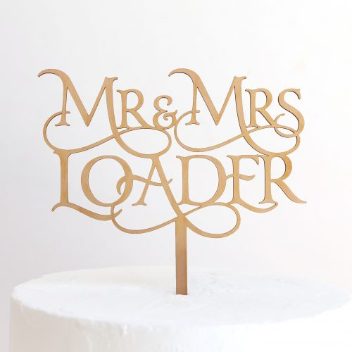 Custom Magical Mr and Mrs Cake Topper Loader Maple Timber