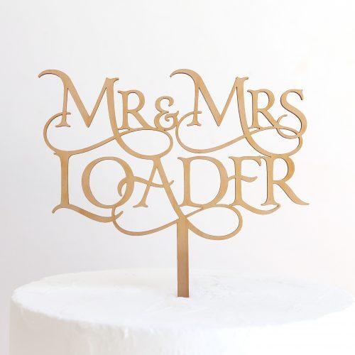 Custom Magical Mr and Mrs Cake Topper Loader Maple Timber