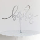 baby Cake Topper in Silver Mirror