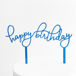 Floating Happy Birthday Cake Topper in Blue