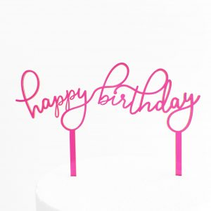 Floating Happy Birthday Cake Topper in Neon Pink