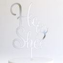 He or She Cake Topper in Silver Mirror