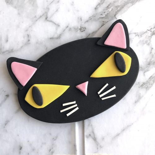 Oval DIY Cake Topper Black Cat