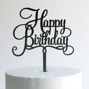 Small Happy Birthday Cake Topper in Black