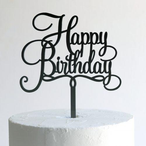 Small Happy Birthday Cake Topper in Black