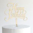 Small Happy Birthday Cake Topper in Gold Mirror