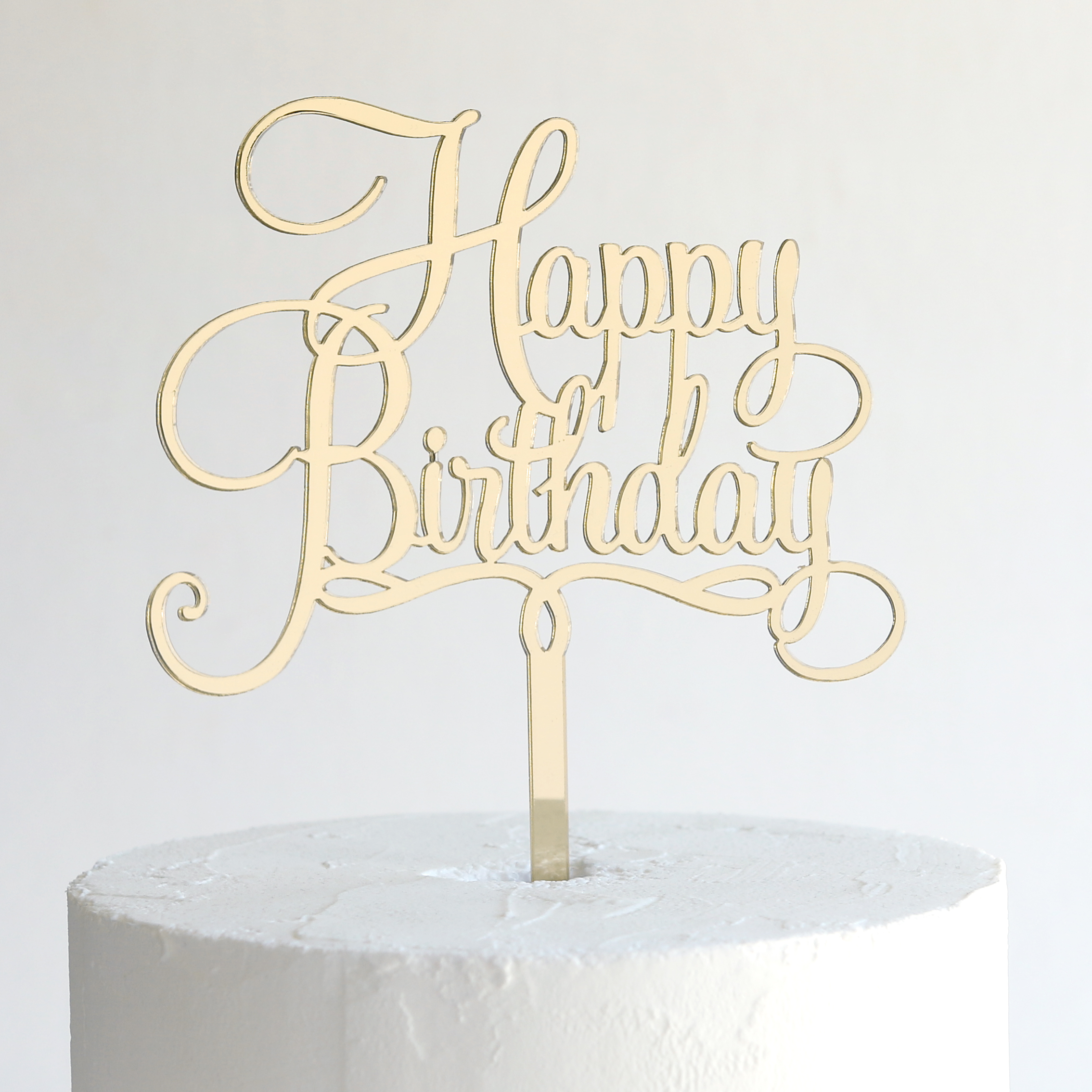 Small Happy Birthday Cake Topper In Gold Mirror