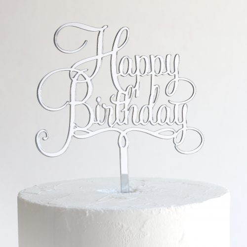 Small Happy Birthday Cake Topper in Silver Mirror