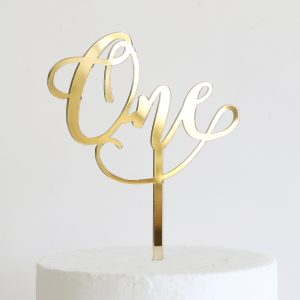 Wonderful One Cake Topper in Gold