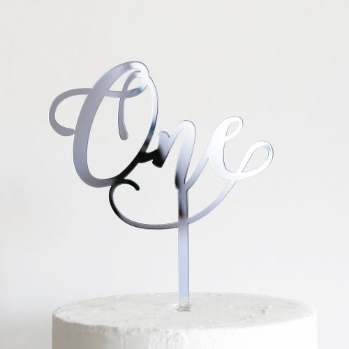 Wonderful One Cake Topper in Silver