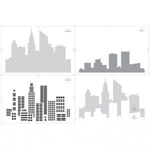City Skyline Multi-Colour Stencil Layers