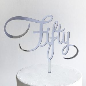 Fantastic Fifty Cake Topper in Silver Mirror