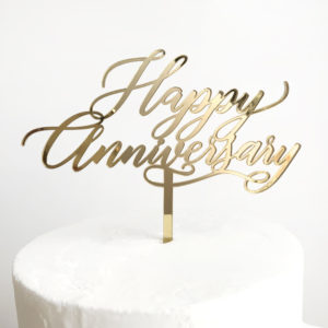 Happy Anniversary Cake Topper in Gold Mirror