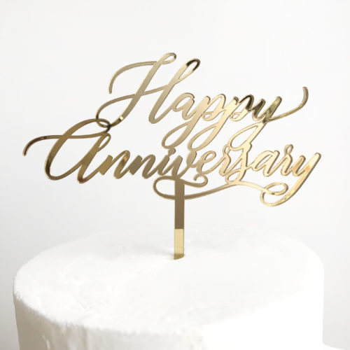 Happy Anniversary Cake Topper in Gold Mirror