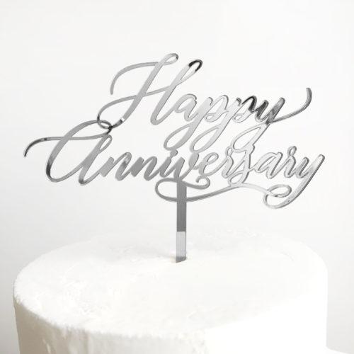 Happy Anniversary Cake Topper in Silver Mirror