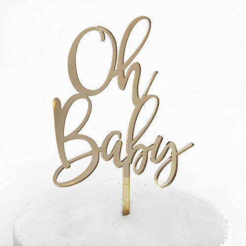 Oh Baby Cake Topper Gold Mirror