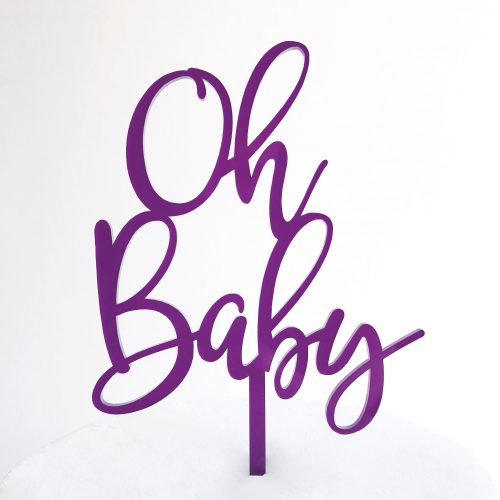 Oh Baby Cake Topper in Purple