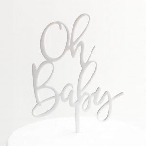 Oh Baby Cake Topper in White