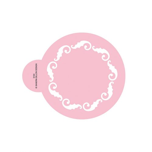 Holly Scroll Wreath Cookie Stencil