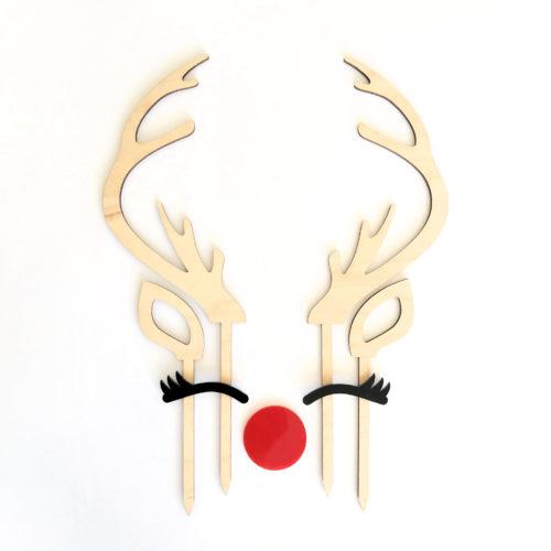 Reindeer Antler Cake Topper Set in Maple Timber