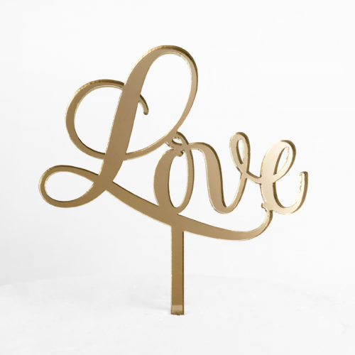 Sweet Love Cake Topper in Gold Mirror (Regular Size)
