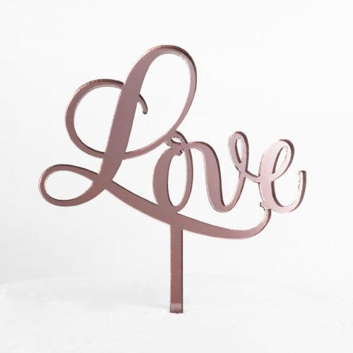 Sweet Love Cake Topper in Rose Gold (Regular Size)