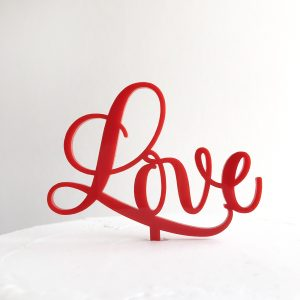 Sweet Love Cake Topper in Red (Regular Size)