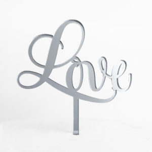 Sweet Love Cake Topper in Silver Mirror (Regular Size)