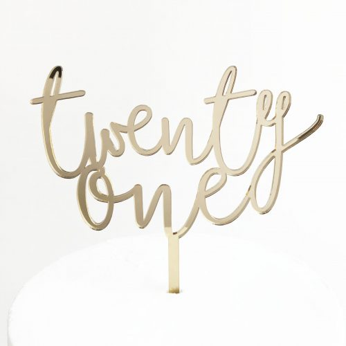 Wild Twenty One Cake Topper Gold Mirror