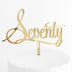 Stupendous Seventy Cake Topper Gold Mirror