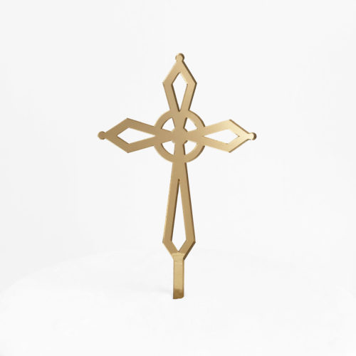 Elegant Cross Cake Topper in Gold