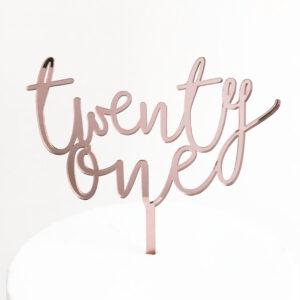 Wild Twenty One Cake Topper in Rose Gold