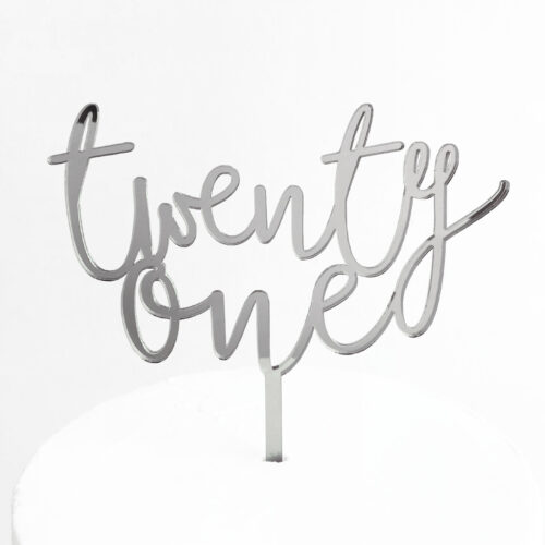 Wild Twenty One Cake Topper in Silver Mirror