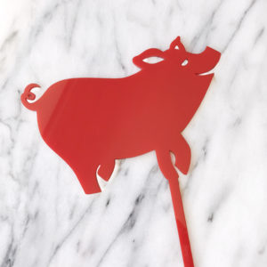 2019 Lucky Pig Cake Topper in Red