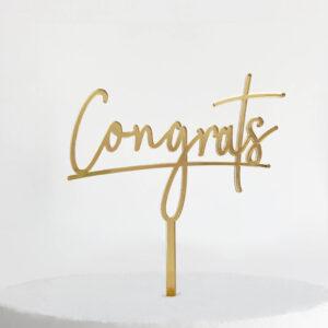Congrats Cake Topper in Gold Mirror