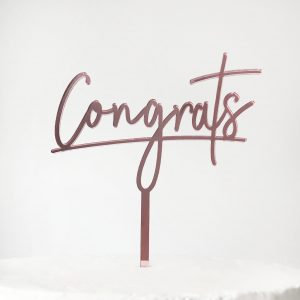 Congrats Cake Topper in Rose Gold