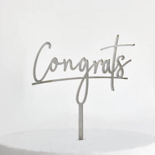 Congrats Cake Topper in Silver Mirror